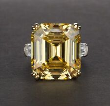 14K White & Yellow Gold Over Emerald Cut Citrine & Diamond Ring Wedding Ring