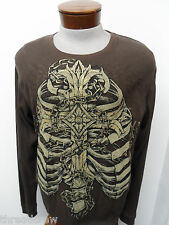 NEW! MMA ELITE CASUAL CREWNECK HENLEY WAFFLE SHIRT sz XL mens brown L/S#439