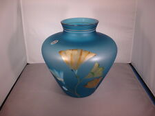 Glass Vase Indigo Large Floral 8817VX Rare Retired West Virginia Original Fenton