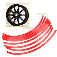 """16 Strisce Adesive 10mm Rosso Riflettente Auto Ruote Cerchi 14-26"""" Decorazione"""