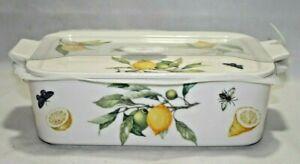 Grace Pantry Lemons & Butterflies Porcelain Oven Safe Casserole Lidded Baker New