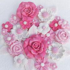 Comestible Bébé Rose Fleurs. Comestible Rose Baptême Cake Topper Fleurs.