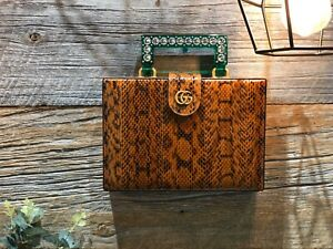 AUTH NEW GUCCI GG BROWN PYTHON SNAKESKIN CRYSTAL GREEN HANDLE BOX CLUTCH