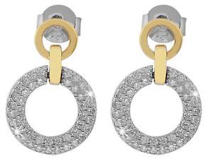 Ohrstecker 925 Silber rhodiniert mit Strass Steine Ohrringe bicolor Echtschmuck