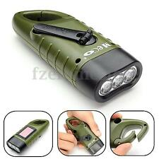 Rechargeable MECO 3x LED Hand Held Crank Dynamo Solar Flashlight Energy Torch