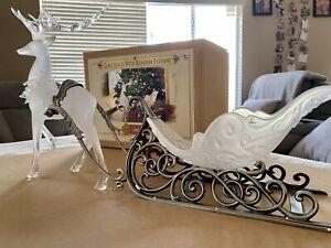 Grandeur Noel Glass Sleigh With Reindeer Figurine Box Included Christmas 2002