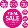 7 Aufkleber SALE Aufkleber % Schaufenster Rabatt Ausverkauf Schlussverkauf Raus