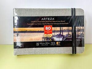 Arteza Small 80-Page Watercolor Book, 5.5 x 3.5 in 110 lb, Acid-Free, Cold Press