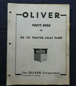 """1950's OLIVER """"No. 101 TRACTOR SULKY PLOW"""" PARTS CATALOG MANUAL"""