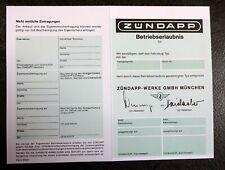 Datenblatt ABE BE Betriebserlaubnis ZÜNDAPP Moped 50 ccm