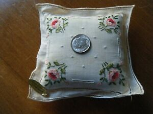 """Antique Doll pillow tiny h made &embroidered  4""""X 4"""" Brode Main Ireland label"""
