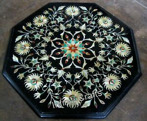 15 x 15 Inches Marble Bed Side Table Antique Work with Gemstone Coffee Table Top