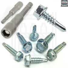 SELF DRILLING HEX HEAD TAPPER TAPPING SCREW TAPPERS BOLT SCREWS BRIGHT ZINC