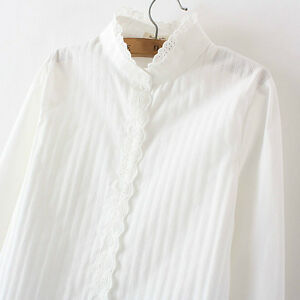 Womens Casual Lace Stand Collar Ruffle Shirt Long Sleeve Slim Hollow Out Blouse