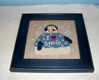 BENT CREEK SNOWMAN I LOVE SNOW COMPLETED CROSS STITCH PICTURE FRAMED