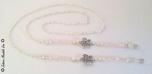 Eye Glasses Holder Lanyard Fashion Necklace HANDMADE Silver Butterfly & Crystals