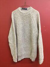 Crew Men's Sweater 100% Shetland Wool Light Gray Sz Large Made in England