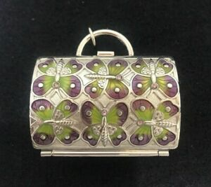 JUDITH LEIBER Miniature Purse Pill Trinket Box Enamel Neiman Marcus Butterfly