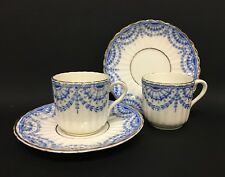 2 Cute Old Blue and White Demitasse Cups and Saucers Marked EVANS