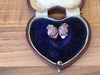 Gorgeous Pair Of Vintage Art Deco Wedding Cake Venatian Glass Clip On Earrings