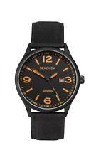 Sekonda Gents Black Woven Strap and Orange Detailed Dial Watch 1388