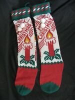 Knit Merry Christmas Candle Stocking Sock Pom Pom 21 inch Lot of 2