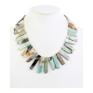 Silver Finish Natural Amazonite Egyptian Queen of the Nile Bib Necklace 17""