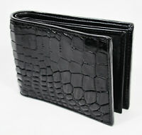 Black Alligator Crocodile Genuine Leather Skin Men Bi-fold Credit Card Wallet.