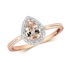 DIAMOND & PEAR SHAPE MORGANITE RING 9CT ROSE Gold 0.11ct LADIES GIFT BRAND NEW