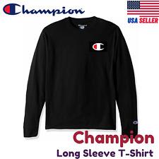 Champion Long Sleeve Tee Shirt C logo Cotton Regular Fit Crew Black/Grey S/M