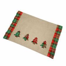 Christmas Plaid Trees Cutout Ruffle Edge Holiday Placemats Set of 2