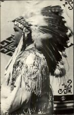Native American Indian Full Costume & Head Dress Real Photo Postcard