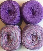 Lace yarn Crystal Colors 23 & 41, Acrylic/Rayon. 900 yards per ball. 1 lot of 4