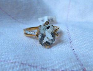 9K Green Amethyst & Diamond Yellow Gold Ring - Size N