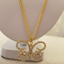 Gold Tone 18 Inch Double Chain With Butterfly Crystal Pendant