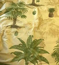 "Printed Tropical Palm Trees Gold - Silk Dupioni Fabric fat 1/4 18""x27"" remnant"