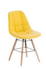 Chaises de salle à manger jaunes en bois massif pour la maison