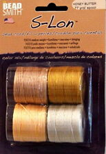 S-LON, Bead Cord, 4 Color Mix, HONEY BUTTER, 5mm 3 Ply Bonded Twisted Nylon Cord