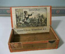 "Antique Cigar Box - Little Flirt - Rare Little Flirt Color Graphic - 8 X 4 X 2"""