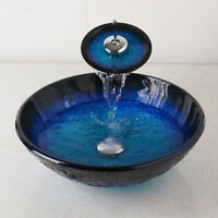 Bathroom Tempered Glass Vessel Sink Bowl With Waterfall  Mixer Faucet  set