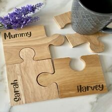 Personalised Jigsaw Family Names, Jigsaw Wooden Coaster, Engraved Wood Gift