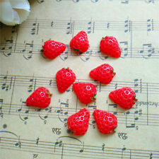 Hot 10pcs Cute Resin Strawberry Red flatback Scrapbooking For DIY phone /craft