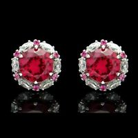 2.00CT Round Red Ruby Halo Marquise Diamond Stud Earrings 14k White Gold Finish