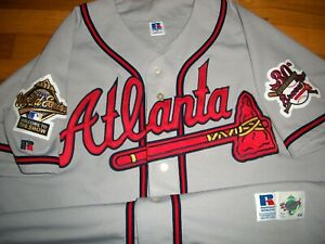 1995 Atlanta Braves Maddux Authentic Game Jersey Sz 48 Russell USA RARE Vtg WS