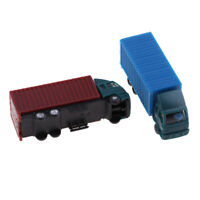2Pcs N Scale Plastic Truck Tractor Container Truck Model Toys Scenery Layout