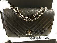 CHANEL Chevron Statement Flap Bag in Black Calf Light Gold-Tone Hardware 17B NWT