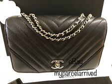 CHANEL Classic Statement Flap Bag Black Calf Light Gold H/W Chevron Medium