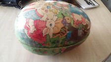 Vintage / Antique Extra Large Paper Mache Easter Egg Candy Container w/ Rabbits