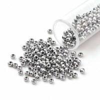 5300pc/50g 10/0 Opaque Glass Seed Beads Smooth Round Silver Loose Bead 2.3x1.5mm