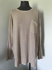 Women's XXL OLD NAVY Brown Cream Striped Light Knit Tunic Top Raglan Sleeve NEW